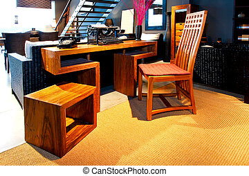 Retro writer - Interesting shape of desk with retro...