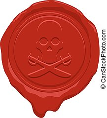 pirate face wax seal - Creative design of pirate face wax...
