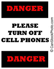 please turn off cell phones - sign indicating cell phones...