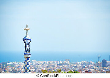 View from park Guell to city of Barcelona