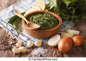 South American cuisine: chimichurri sauce and ingredients...