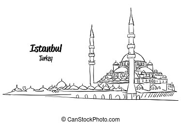 Istanbul Yeni Cami, New Mosque Sketch, Hand drawn Vector...