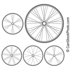 different bicycle wheels on a white
