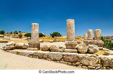 Ruins of the Amman Citadel in Jordan