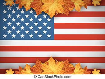 American Flag. Banner. Autumn leaves background.