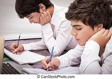 Two boys doing homework - Two teenage boys doing homework at...