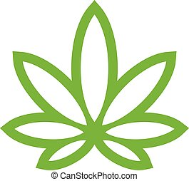 Stylized Green Marijuana Pot Weed Leaf vector logo