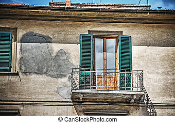 close up of an old window in Tuscany