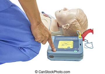 cpr with AED isolated add cliping path