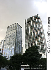 Dark Sky over Sao Paulo - Buildings in Downtown Sao Paulo,...