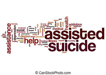 Assisted suicide word cloud concept