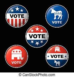 American Presidential Election Part - Set of 5 vector budges...