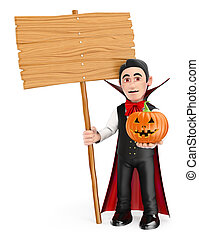 3D Funny monster. Vampire with a blank wooden sign and a pumpkin. Halloween