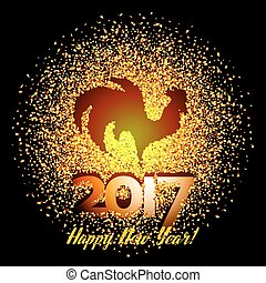 Happy New Year 2017 background with gold shiny rooster...