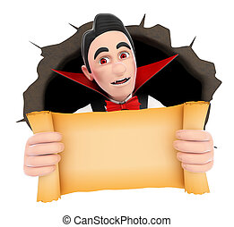 3D Funny monster. Vampire coming out a wall hole with a blank papyrus. Halloween