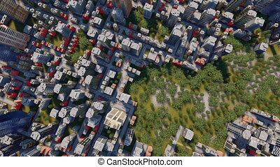 Abstract city block and park aerial view 4K - Straight...