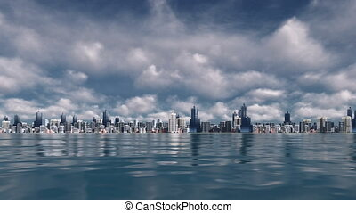 Big city view from water time lapse - Time lapse clouds over...