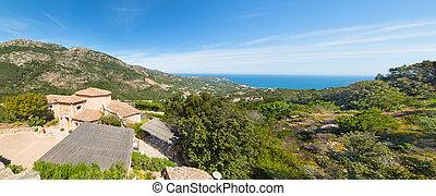 Panoramic view of Costa Smeralda coastline, Sardinia