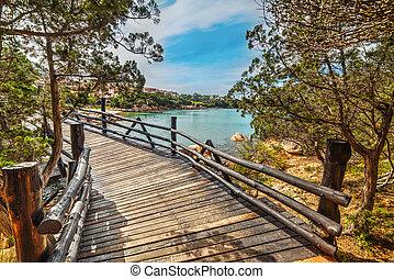 small wooden bridge in Porto Cervo, Sardinia