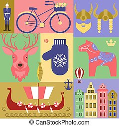 set elements of Sweden - Vector set with elements and...