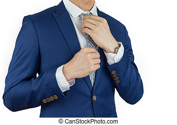 businessman dressing blue suit - businessman fitting up blue...