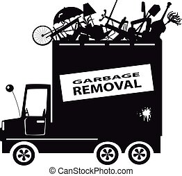Waste removal - Black vector silhouette of a waste...