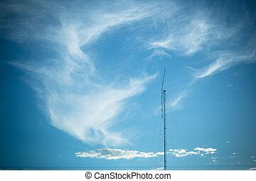 電視, 明亮, 天空, 天線