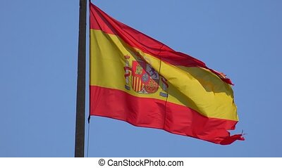 Flagpole With Flag Of Spain