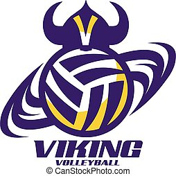 viking volleyball team design with ball and net for school,...
