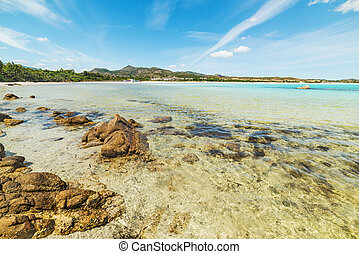 Lu Impostu beach on cloudy day, Sardinia