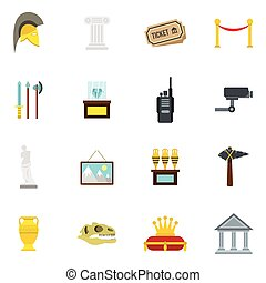 Museum icons set, flat style - Museum icons set in flat...