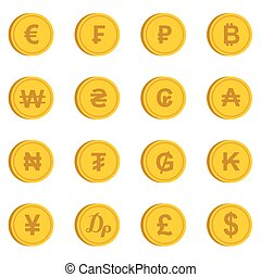 Currency from different countries icons set in flat style...
