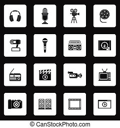 Multimedia equipment icons set, simple style