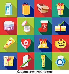 Packaging icons set, flat style - Packaging icons set in...