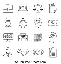 Banking icons set, outline style - Banking icons set in...