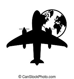 airplane and earth globe icon