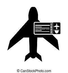 airplane and boarding pass icon