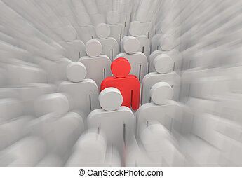 A red person in a crowd of people - shot2