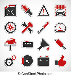 Car Service Icons - Red - Set of car service icons over...