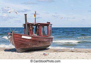 Boat At Shoreline - Seagull flying over boat at shoreline
