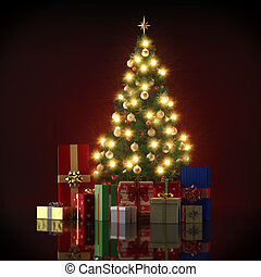 Illustration Of Christmas Tree with gifts
