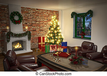 Interior of living room in christmas