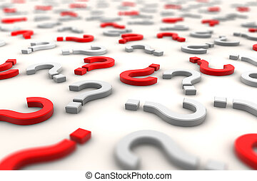 3D question marks over white background - shot 1 - Red and...