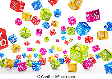 falling percent cubes - colorful - 3d rendering of falling...