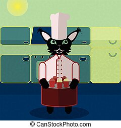 Blue and green cat cook in the kitchen. Nice and simple...