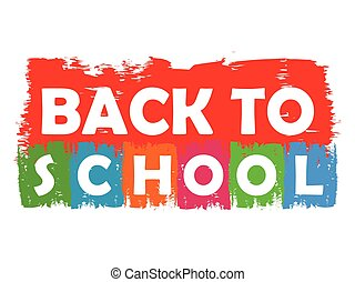 back to school drawn label, vector - back to school drawn...