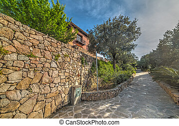 brick wall in Porto Rotondo, Sardinia