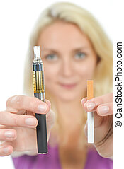 Woman trying an electronic cigarette