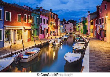 Colourful evening houses on Burano island, Venice -...