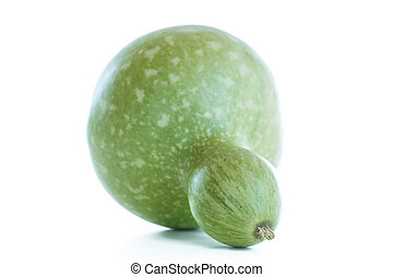 large green bottle gourd on a white background